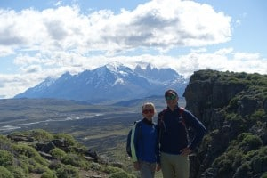 Phil and Paula on hilltop in Tiarra Chile Patagonia