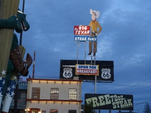 Big texan sign 2-1