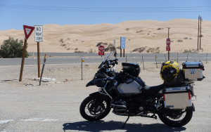 bike with sand dunes in CA-1