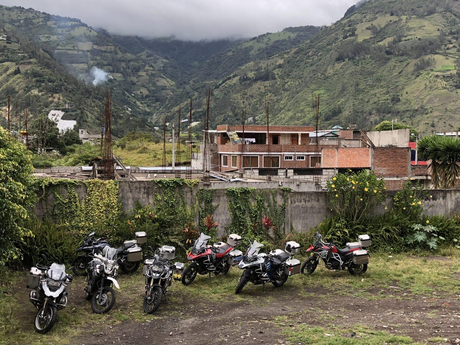 Bikes in back of hotel in Banos